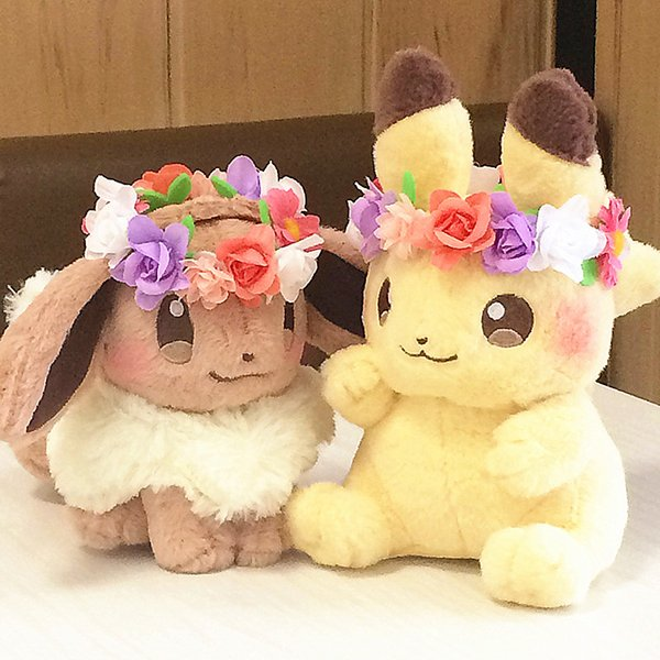 New Authentic Japan anime game 2pcs Pikachu&Eievui's Easter Eevee Plush Doll Stuffed Toy Limited Plush Doll Toy SH190913