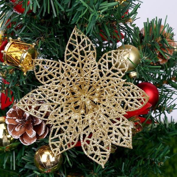 New Year Christmas Tree Decorations 5pcs 15cm Hollow Glitter Christmas Flower Wreath Rattan DIY Decoration Navidad. Q