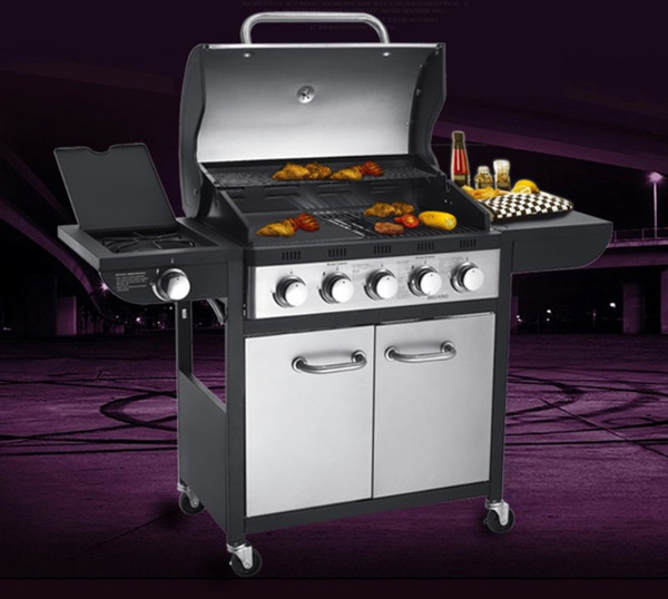 high quality five burner+side burner outdoor gas BBQ grlls,export products,just a few pcs in stock, gas bbq girll with motor and skewers