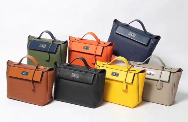 Wholesale Herrrrrmes Quality leather logo Toolbox 30cm Messenger Strap Bolso Female pouch Daidai /9 24/24 Calfskin Totes Bags Swift HANDBAG