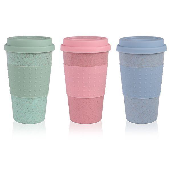 Mode Silikon Kaffeetasse mit Deckel Umweltfreundliche Weizenstroh Getränk Teetasse Kreative Kaffeetasse Reisebecher Rosa Blau Teebecher DBC VT0370