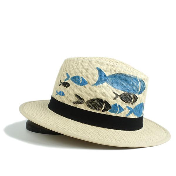 Fashion Women Summer Sun Hat Straw Beach Panama Sun Hat Elegant Lady Queen Homburg Jazz With Hand Painted Fish