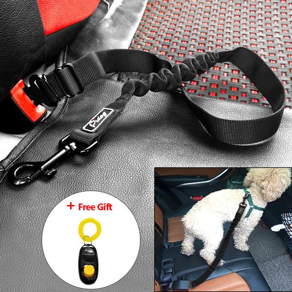 Adjustable Pet Dog Cat Car Seat Belt Safety Leads Vehicle Seatbelt Harness Nylon Car Restraint with Elastic Bungee Leash