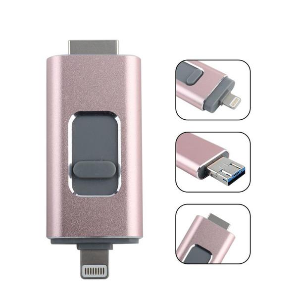 Android iOS Clé USB 128 Go 64 Go Mémoire vive 32g Clé USB 3-en-1 OTG Clé USB Stockage externe compatible avec iPhone iPad iPod