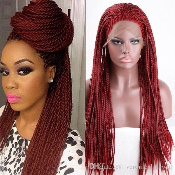 Free Shipping High Temperature Red Cosplay Wig Long Braids Synthetic Lace Front Wig High Quality African American Braided Wigs For Women