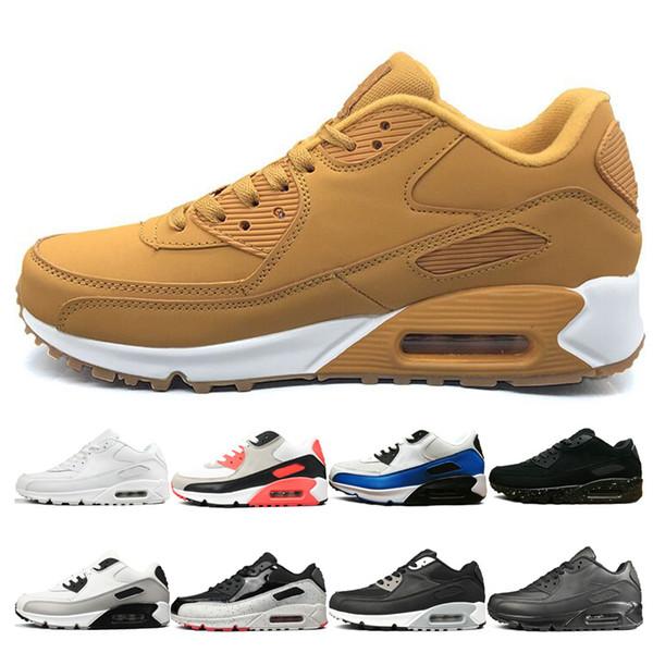 Compre Nike Air Max 90 Cushion Casual Running Shoes Para Hombres Mujeres Barato Triple Negro Blanco Rojo Amarillo Hombres Mujeres Zapatillas De