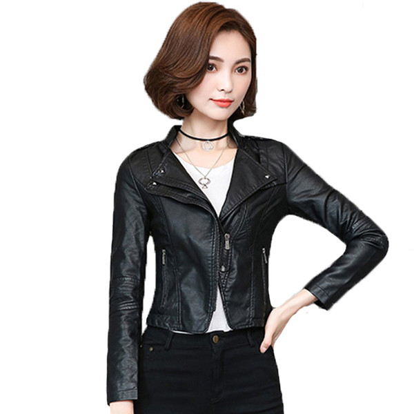 2019 new design casual women autumn faux leather jacket turn down collar slim ladies outwear coat black gray casaco feminino