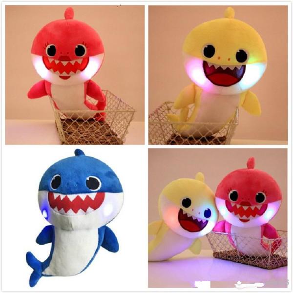 LED 30cm light up Baby Shark Plush Toys with Music sing the English song Cartoon Stuffed Lovely Animal Soft Dolls music Shark Toy K0131