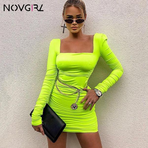 Novgirl 2 Layers Ruchec Bodycon Sexy Dress Women 2019 Fashion Square Neck Long Sleeve Pleated Mini Dress Party Neon Vestidos