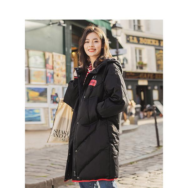 INMAN con cappuccio stampa signore di svago femmina giovane inverno lungo dell'anatra giù in pelle cappotto caldo Donna Giacche Fashion Overcoat SH190930