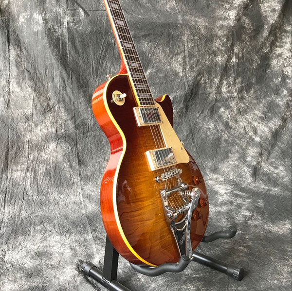 Custom shop Tiger Flame maple top standard custom electric guitar Standard 59 Sunburst jazz gitaar,,musical instruments.