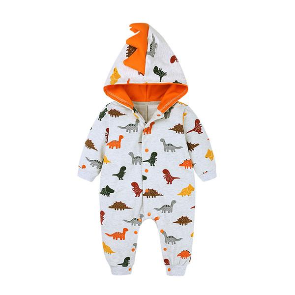 Bebek Bebek Boys Kapşonlu Tulum Yenidoğan Boy Karikatür Dinozor Baskılı Romper Bebek Sevimli Jumpsuit Kıyafetleri Bebek Onesie # Lr2 GPS