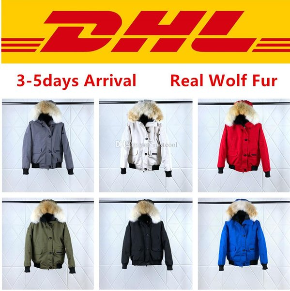 Top Quality Canada PBI CHILLIWACK BOMBER Parka Women Real Wolf Fur Winter Coats Designers Down Jacket XS-XL #02