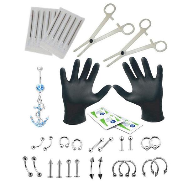 41 UNIDS 14G 16G Kit de Herramientas para Perforar el Cuerpo Aguja de Perforación Desechable para el Anillo de Herradura Cautivo BCR Labio Ceja Lengua Joyería del cuerpo