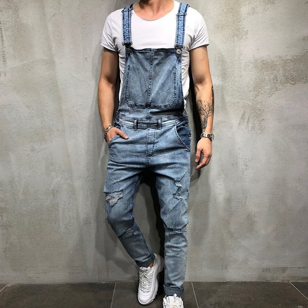 Loozykit Men's Ripped Hole Jeans Slim Fit Jumpsuits Hip Hop Distressed Denim Bib Overalls Plus Size Black Jeans For Man Pants