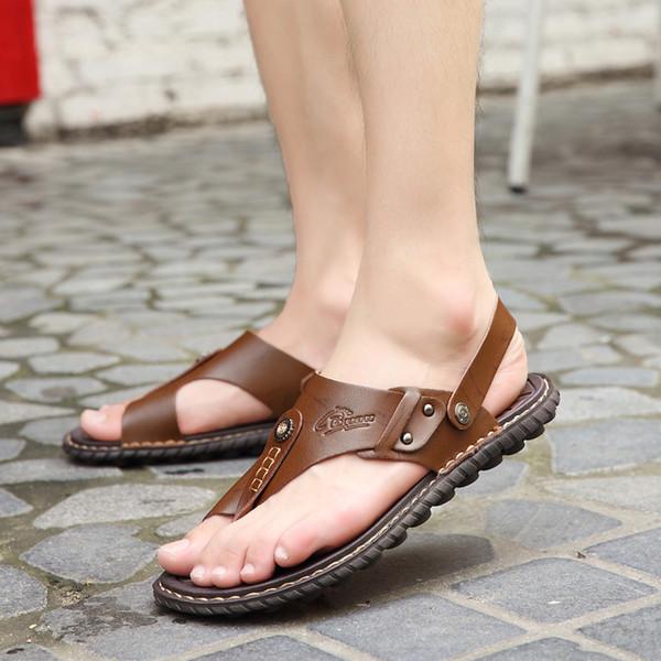 POLALI Mens Flip Flops Plus Size 47 Brand Summer Genuine Leather Sandals Men Casual Shoes Beach Shoes Native Male Sandals Slides