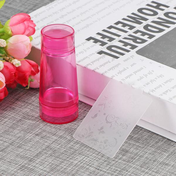 Stamper d'ongle de silicone de gelée de double tête claire avec le grattoir emboutissant l'outil de Nail Art réglé pour l'outil de plat de timbre