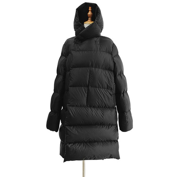 Gaby Gaby 2018 new style, white duck down, cap down jacket, female couple style, medium and long style, loose down jacket, female