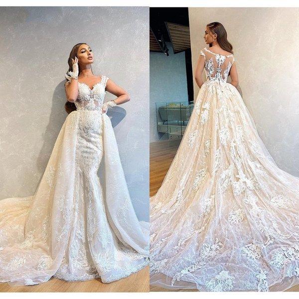 2020 дешевые Русалка плюс размер атласные кружева свадебные платья съемный хвост спагетти рукавов аппликация свадебные платья развертки поезд свадебное платье