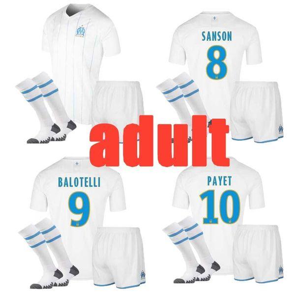 2019 Thailand Marseille Soccer maillot KIT HOMME 2019/20 Marseille Maillot De Foot balotelli maillot de foot Marseille adulte ensembles complets