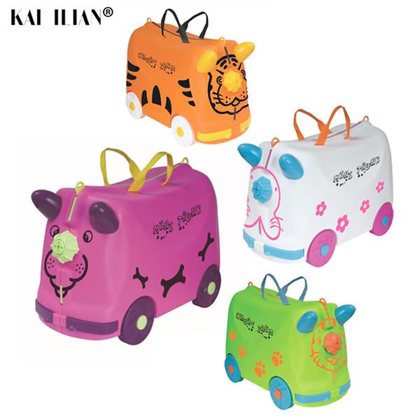 Valigia su ruote bagaglio da viaggio per bambini auto da ragazzo ragazza Scatola da gioco valigia Può sedersi per andare in giro per i bambini piccoli regalo di festa moda bambino