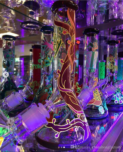 Tall Beaker water Bongs Glow in The Dark glass water pipes big thick 7mm glass dab rig for sale