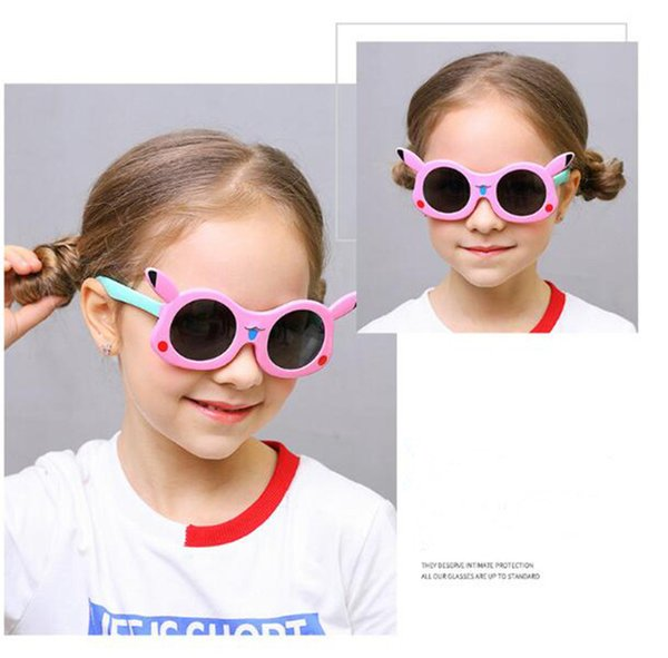 Children's fashion silicone sunglasses polaroid glasses Pikachu styling lively and lovely environmental protection material free shipping.