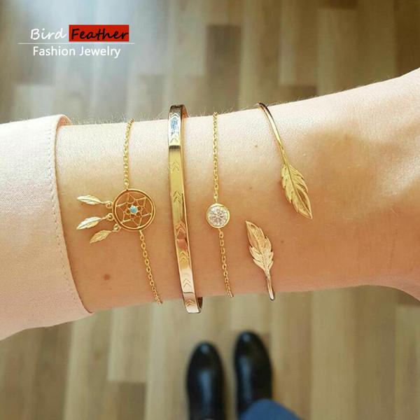 Gold color Bohemian Handmade Weave Crystal net leaf Bracelet Sets Women 2019 New Rope Chain Bracelets Retro Jewelry Accessories