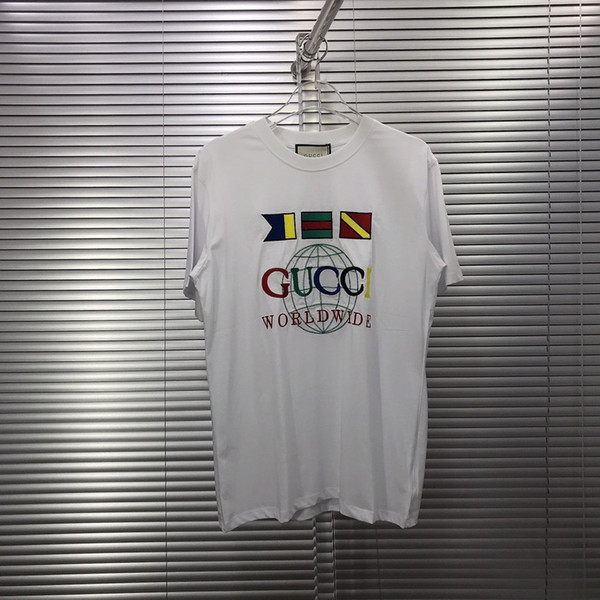2020 Avrupa Paris yeni yüksek dereceli pamuk Moda Avrupa İtalya Küçük bayrak baskı nakış Erkekler Kadınlar Tişörtlü Casual Pamuk Tee Üst OS ABD boyutu
