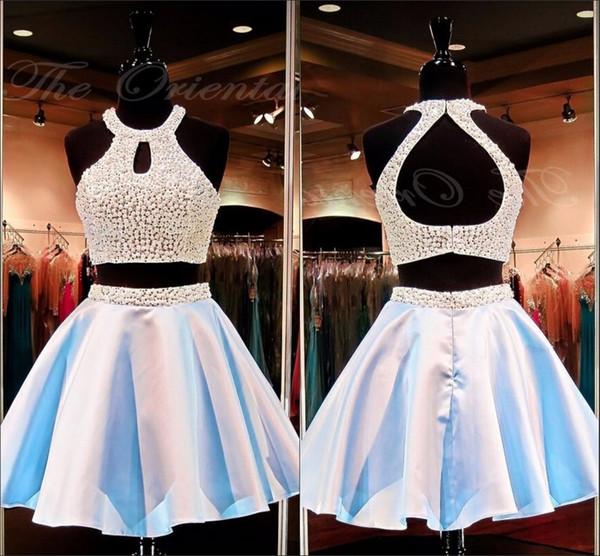 Custom Made magnifique bijou deux pièces robe de bal creux perles courtes luxueuses robes de soirée perles majeures robes de bal