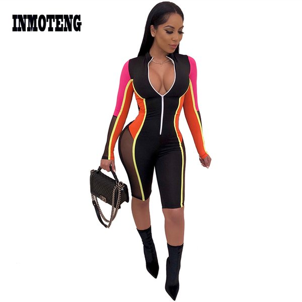 INMOTENG Black Mesh V Neck One Piece Skinny Bodysuit Sexy Women See Through Long Sleeve Colorful Jumpsuit Plus Size Club Rompers