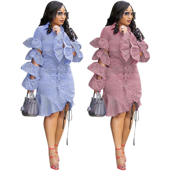 Designer women Ruffle Shirt Dresses long Sleeve drawstring Striped Skirts Sexy Casual Plus Size -3XL Dresses Blue Red 88