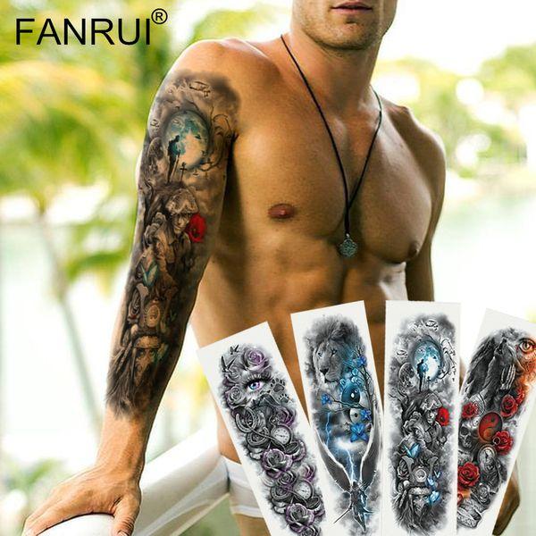 Army Warrior Soldier Black tatuaggio temporaneo adesivi per uomini Full Body Art braccio manica tatuaggio 48 * 17cm grande impermeabile Tattoo Girl
