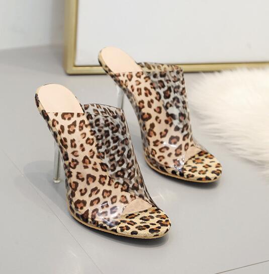 Sommer heißer transparenter Leopard-Fisch-Mund PVC-Frauen-Sandelholze öffnen Zehe-freien Kristallhohen absätzen Beleg auf Pantoffel-Kleid-Damen-Schuhen