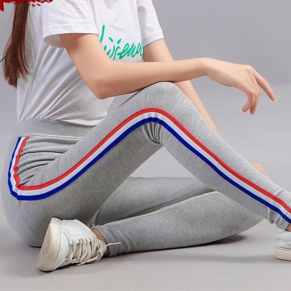 2019 Novas Mulheres Leggings Primavera Leggins Algodão grosso Casual Listrado Gótico Aptidão Legging Calças Esportivas Calças Plus Size