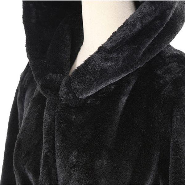 long coat long coat faux fur Autumn new fake fur hooded cotton padded plush female windbreaker