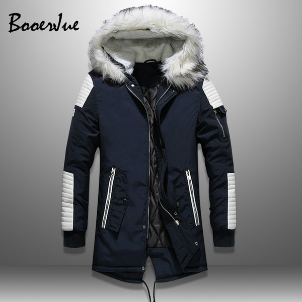 Плюс бархат мужской меховой воротник пальто зимняя уличная одежда толстые мужские куртки с капюшоном теплая мужская куртка парка PU лоскутное пиджаки с капюшоном