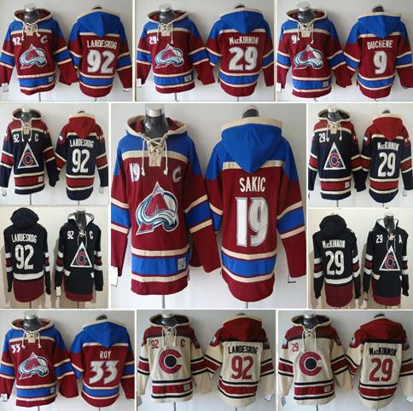 Colorado Avalanche Hoody 33 Patrick Roy 19 Joe Sakic 29 Nathan MacKinnon 92 Gabriel Landeskog Jersey