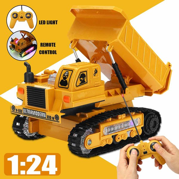 1:24 Rechargeable RC Car Dump Wireless Electronic Engineering Truck Vehicle Rc Toy Kid W/ LED Light Remote Control for Boys Gift