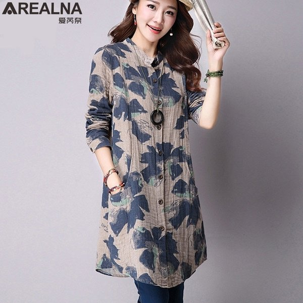 AREALNA Ladies Long Tops Women Autumn Fashion Floral Cotton Linen Blouse Women Long Sleeve Shirts Plus Size Korean Vintage Tunic SH190907