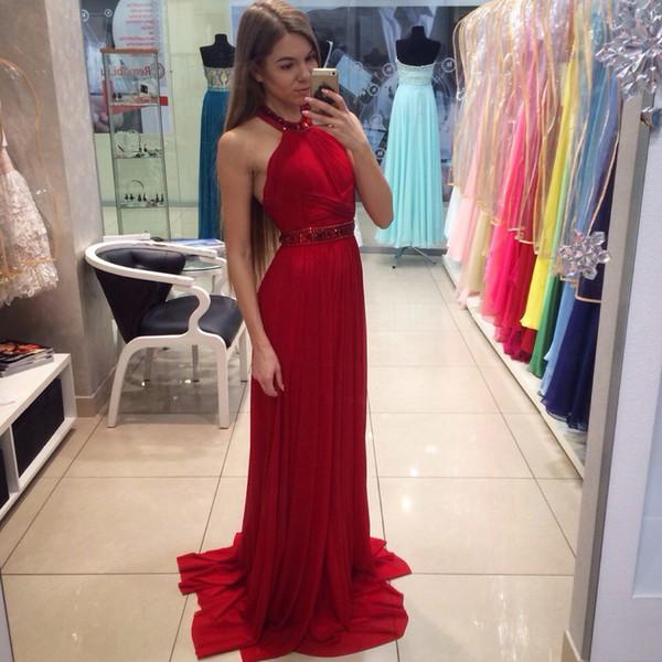 Cabido Red Prom Vestido Halter Beaded Cristal Bainha Longo Chiffon Vestidos de Baile Para As Mulheres Sem Mangas 2019 Plus Size Vestido De Noite Para Meninas Uk