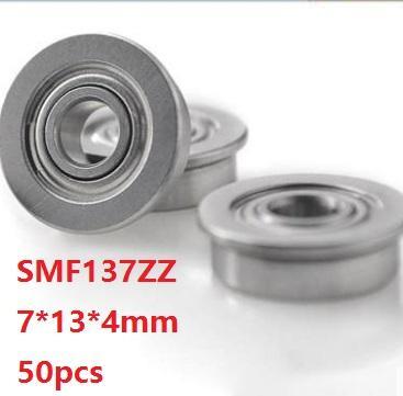 50 adet / grup SMF137ZZ S MF137ZZ ABEC-5 7x13x4mm Flanş Bilyalı rulman korumalı 7 * 13 * 4mm MF137 ZZ Z