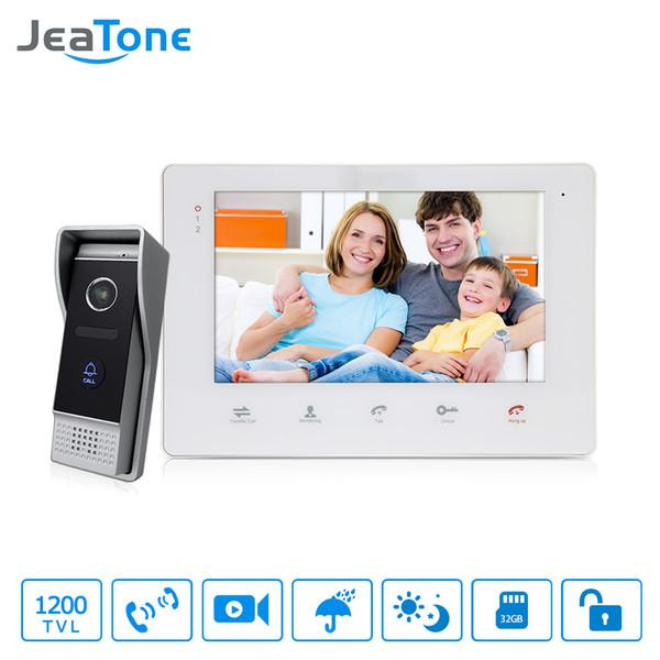 "JeaTone 7"" Color Video Intercom Doorbell monitor Intercom System IP65 Waterproof Door Phone 1200TVL Camera Home Security Kit"