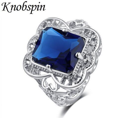 Classic Geometric Square Blue Zirconia Women Ring Jewelry for Party Hollow Pattern Wedding Engagement Ring US Size 6-10 bague