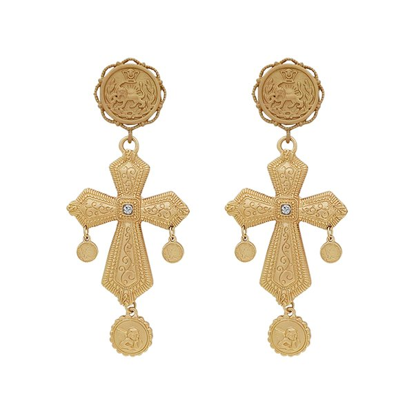baroque style elements vintage earrings female long cross earrings fashion nostalgic, Silver