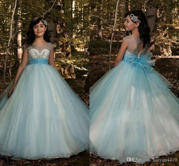 2019 New Princess Flower Girl Dresses For Weddings Jewel Neck Tulle Beads Big Bow Back Little Kids Baby Gowns Custom First Communion Dresses
