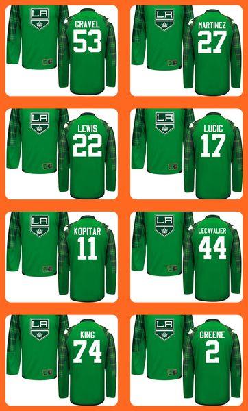 Mens Green St.Patricks Day 53 Gravel 27 Martinez 22 Lewis 17 Lucic 11 Kopitar 44 Lecavalier 74 King 2 Greene Hockey Jerseys