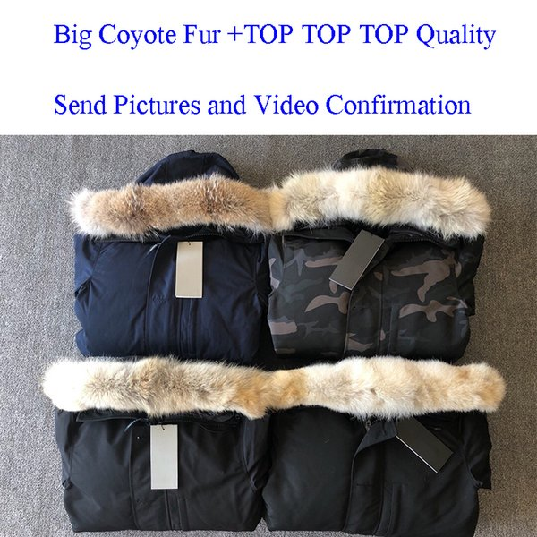 TOP vera pelliccia di coyote da uomo Giacca invernale firmata Piumino da uomo Parka Piumino lungo Parka Piumini Cappotto caldo Jaqueta Rosso Nero Etichetta E06