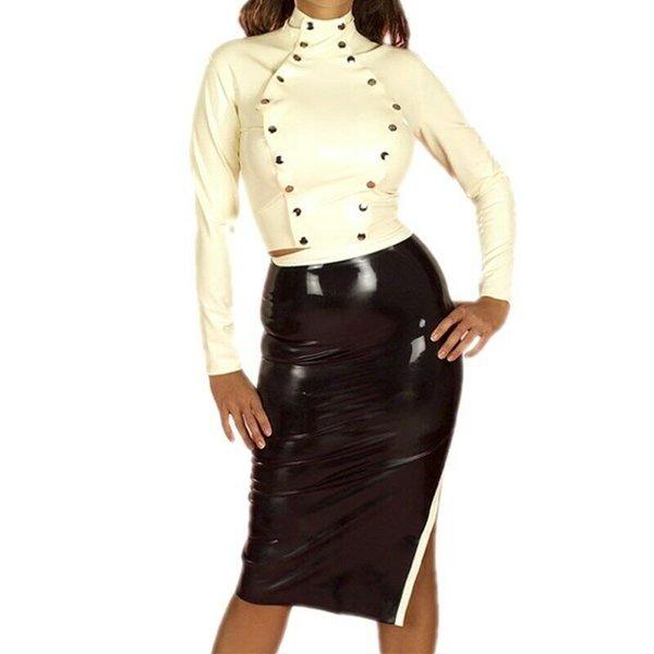 Latex Rubber Kleid Röcke Anzug Sexy Schwarz Uniform Latexanzug S-XXL