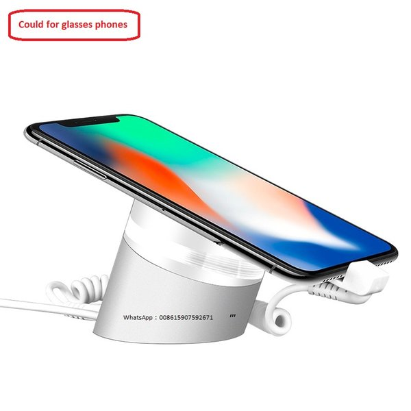 Mobile alarm display bracket holder for Apple iPhone Huawei Xiaomi cell phones anti theft security acrylic base pedestal stand with charger